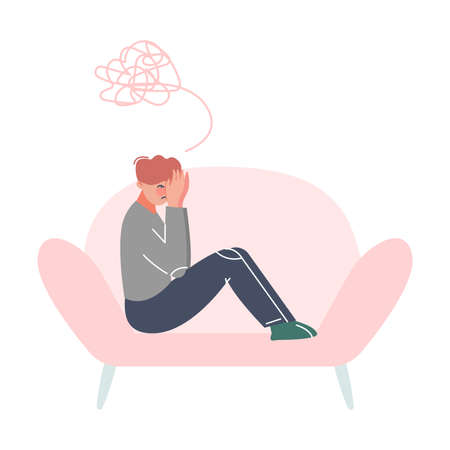 Stressed Man Sitting on Couch, Professional Psychotherapy Counselling, Psychological Help Concept Cartoon Style Vector Illustration