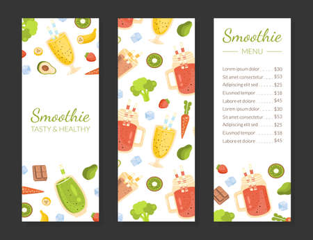 Smoothie Menu Template, Healthy Vitamin Drinks Restaurant or Cafe Brochure, Natural Detox Cocktails Flyer, Promotional Leaflet, Poster Vector Illustration Çizim