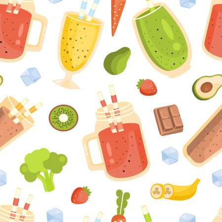 Smoothies and Ingredients Seamless Pattern, Tasty Nutritious Vitamin Cocktails, Restaurant or Cafe Menu Design Element Can Be Used for Wallpaper, Packaging, Background Cartoon Vector Illustration