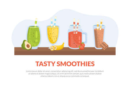 Tasty Smoothies Banner Template with Nutritious Vitamin Drinks, Avocado, Banana, Strawberry, Chocolate Cocktails Poster, Promotional Leaflet Vector Illustration