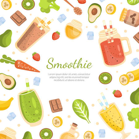 Smoothie Banner Template with Healthy Vitamin Drinks and Ingredients Seamless Pattern, Tasty Natural Detox Cocktail Poster, Promotional Leaflet Cartoon Vector Illustration.