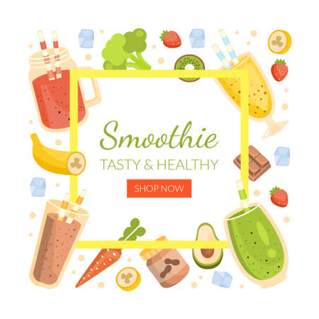 Smoothie Landing Page Template, Healthy Vitamin Drinks and Ingredients of Square Shape Frame with Space for Text, Tasty Natural Detox Cocktails Homepage, Website Cartoon Vector Illustration
