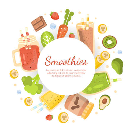 Smoothies Banner Template, Healthy Vitamin Drinks and Ingredients of Round Shape Frame with Space for Text, Tasty Natural Detox Cocktail Cartoon Vector Illustration Çizim