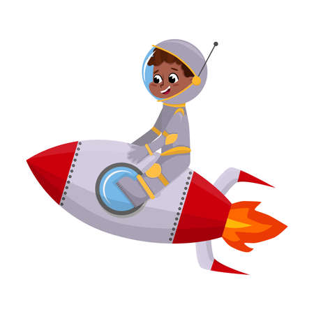 Cute Happy Kid Astronaut in Outer Space Suit Riding Spaceship, Little Boy Playing Astronauts, Space Tourist Character Cartoon Style Vector Illustration 向量圖像