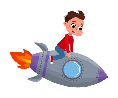 Cute Happy Boy Astronaut Riding Space Rocket Toy, Little Boy Playing Astronauts Cartoon Style Vector Illustration 向量圖像