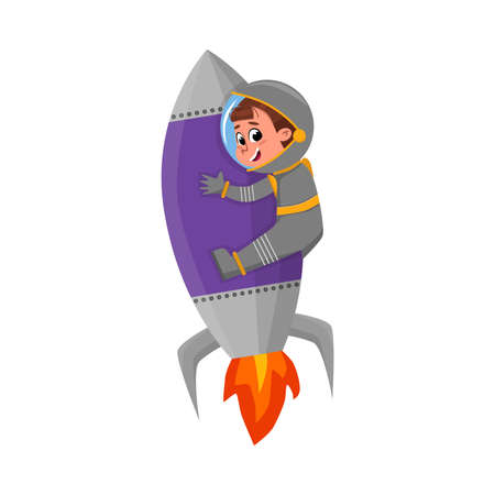 Cute Happy Kid Astronaut Character in Outer Space Suit Riding Rocket, Little Boy Dreaming of Becoming an Astronaut Cartoon Style Vector Illustration 向量圖像