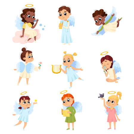 Adorable Baby Angels Set, Cute Angelic Boys and Girls with Wings and Halo Cartoon Style Vector Illustration Archivio Fotografico - 155363005