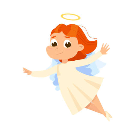 Cute Baby Angel Flying in Sky, Angelic Girl with Wings and Halo Cartoon Style Vector Illustration Vettoriali