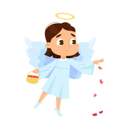 Cute Baby Angel with Basket Full of Rose Petals, Angelic Girl with Wings and Halo Cartoon Style Vector Illustration
