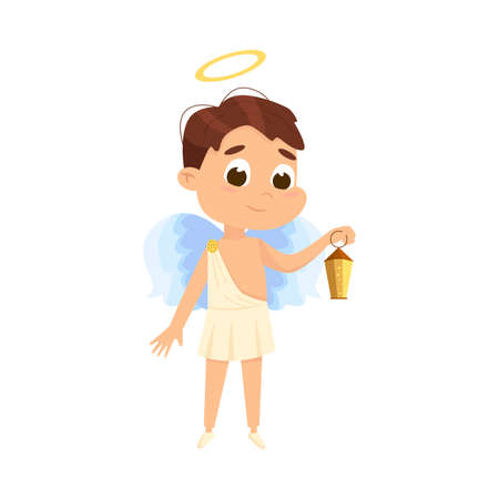 Cute Baby Angel with Lantern, Angelic Boy with Wings and Halo Cartoon Style Vector Illustration