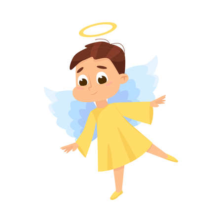 Cute Lovely Baby Angel, Angelic Boy Character with Wings and Halo Cartoon Style Vector Illustration