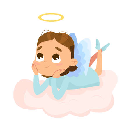 Cute Baby Angel Lying on Cloud, Angelic Girl with Wings and Halo Cartoon Style Vector Illustration Vettoriali