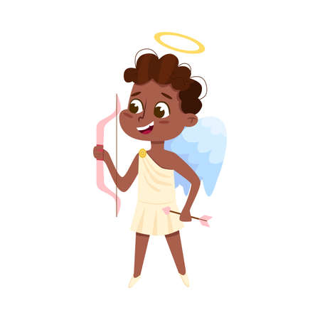 Cute Baby Angel Shooting with Bow, African American Angelic Boy with Wings Cartoon Style Vector Illustration