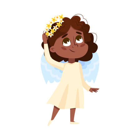 Cute Baby Angel, Angelic African American Girl with Wings and Wreath of Flowers Cartoon Style Vector Illustration