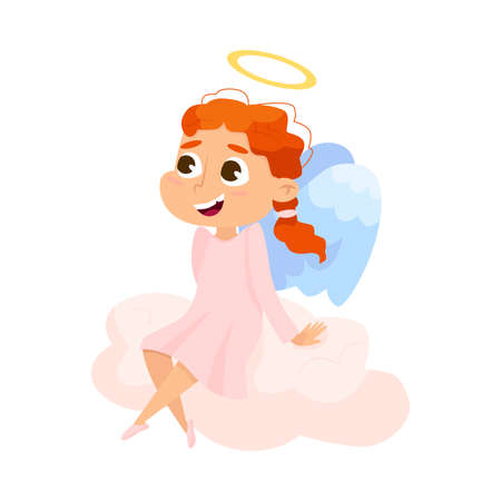 Cute Baby Angel Sitting on Cloud, Angelic Girl with Wings and Halo Cartoon Style Vector Illustration