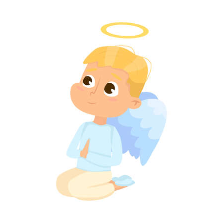 Cute Baby Angel Praying on His Knees, Angelic Boy with Wings and Halo Cartoon Style Vector Illustration