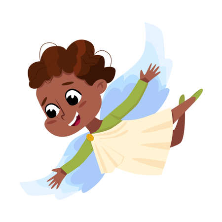 Cute Baby Angel Flying in Sky, Angelic Girl with Wings Cartoon Style Vector Illustration Vettoriali
