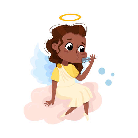 Cute Baby Angel Blowing Soap Bubbles while Sitting on Cloud, Angelic Girl with Wings and Halo Cartoon Style Vector Illustration Vettoriali