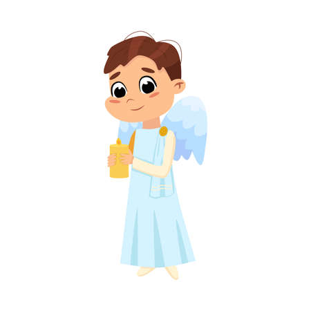 Cute Baby Angel with Burning Candle, Angelic Boy with Wings Cartoon Style Vector Illustration Archivio Fotografico - 155363024