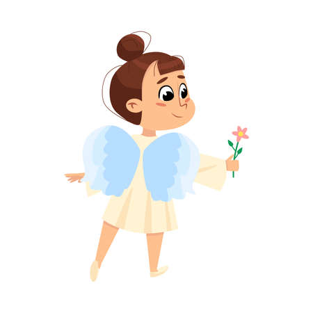Adorable Baby Angel with Flower, Cute Angelic Girl with Wings Cartoon Style Vector Illustration