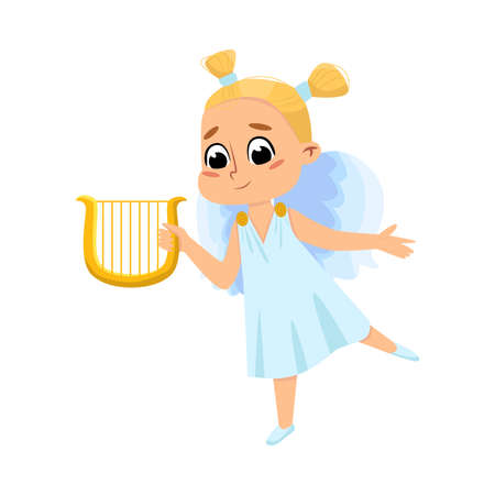 Cute Baby Angel with Musical Instrument, Angelic Girl with Wings Cartoon Style Vector Illustration