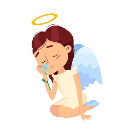 Adorable Baby Angel Sniffing Flower, Angelic Girl with Wings and Halo Cartoon Style Vector Illustration