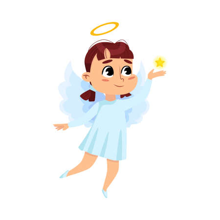 Cute Baby Angel Holding Star, Angelic Girl with Wings and Halo Cartoon Style Vector Illustration