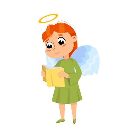 Cute Baby Angel Read Book, Angelic Girl with Wings and Halo Cartoon Style Vector Illustration