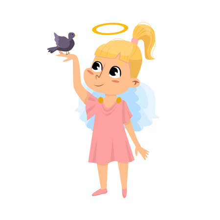 Cute Baby Angel with Little Bird, Angelic Girl with Wings and Halo Cartoon Style Vector Illustration