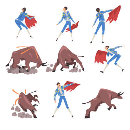 Bullfighting Set, Toreador Fighting with Furious Bull, Picador Character Dressed in Blue Costume, Spanish Corrida Traditional Performance Cartoon Style Vector Illustration