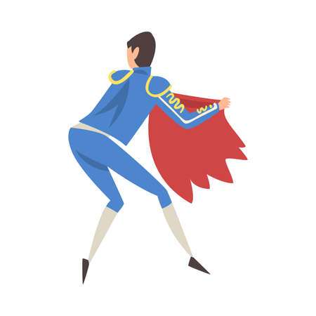 Back View of Bullfighter with Red Cape, Bullfighting Toreador Character Dressed in Blue Costume, Spanish Corrida Traditional Performance Cartoon Style Vector Illustration