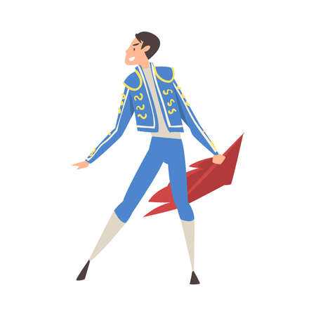 Bullfighter, Toreador, Picador Character Dressed in Blue Costume, Spanish Corrida Traditional Performance Cartoon Style Vector Illustration