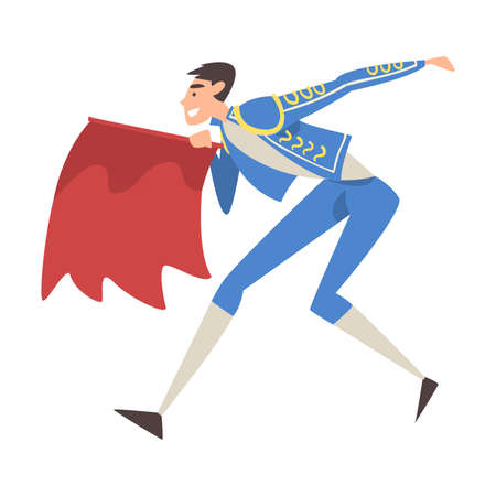 Bullfighter Fighting with Red Cape, Toreador Character Dressed in Traditional Costume, Spanish Corrida Performance Cartoon Style Vector Illustration