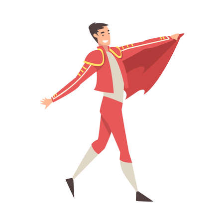 Man Bullfighter, Toreador Character Dressed in Red Costume, Spanish Bullfighting Traditional Performance Cartoon Style Vector Illustration