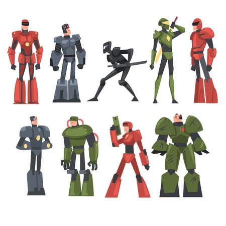 Robotic Men Set, Carnival Party or Masquerade Concept, Video Game Design Element Cartoon Style Vector Illustration