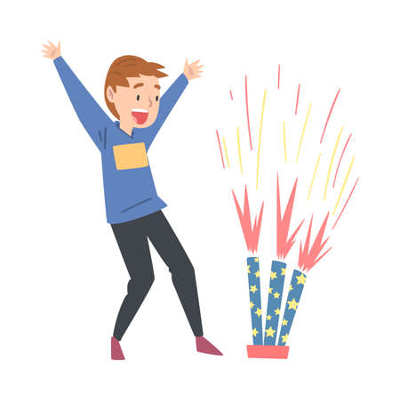 Cute Happy Boy Launching Fireworks, Child Watching Firework Explosion Cartoon Style Vector Illustration Illusztráció