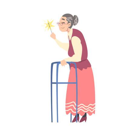 Elderly Woman with Walker Holding Burning Sparkler, Grandma Celebrating Holidays Cartoon Style Vector Illustration