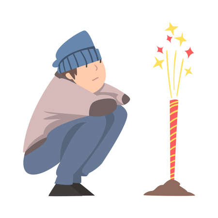 Boy Launching Fireworks, Teenage Boy Squatting and Watching Firework Explosion Cartoon Style Vector Illustration Illusztráció