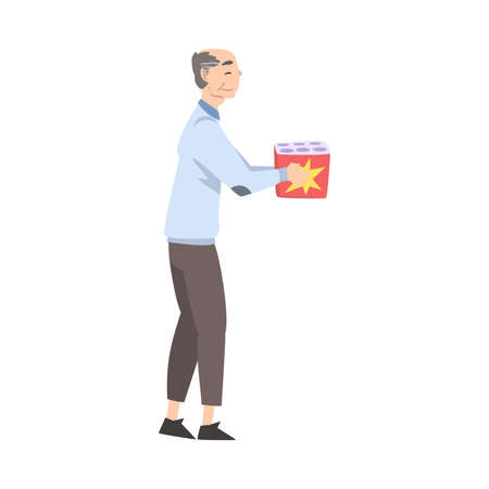 Elderly Man Going to Launch Fireworks, Person Celebrating Holidays and Watching Firework Explosion Cartoon Style Vector Illustration Illusztráció