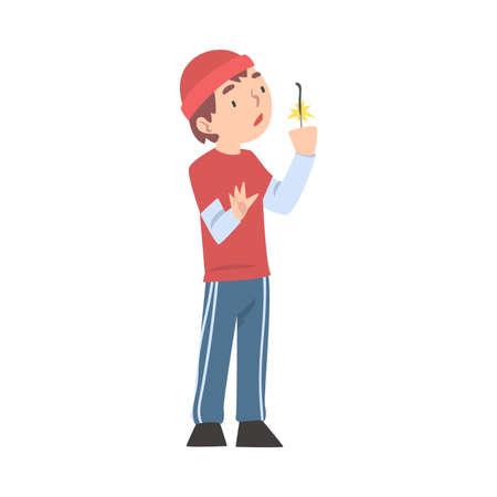 Cute Boy Holding Sparkler, Child Celebrating Holidays and Watching Burning Sparkler Cartoon Style Vector Illustration