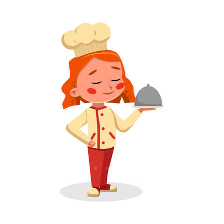 Girl Professional Chef Character Holding Restaurant Cloche, Cute Kid in Uniform and Hat Cooking Tasty Dish Cartoon Style Vector Illustration Illusztráció