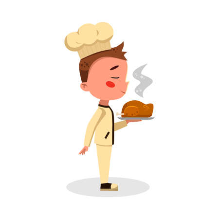 Boy Professional Chef Character Holding Plate with Hot Fried Chicken, Cute Kid in Uniform and Hat Cooking Tasty Dish Cartoon Style Vector Illustration