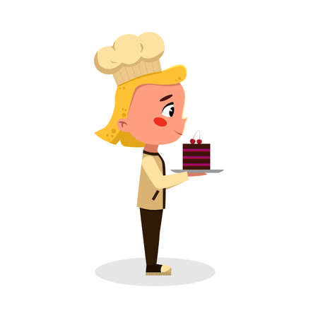 Girl Baker or Confectioner Character with Cake, Side View of Cute Chef Kid in Uniform and Hat Cooking Tasty Dish Cartoon Style Vector Illustratio