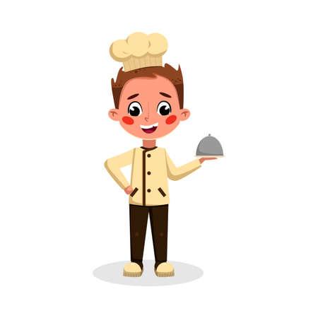 Boy Professional Chef Character Holding Restaurant Cloche, Cute Kid in Uniform and Hat Cooking Tasty Dish Cartoon Style Vector Illustration Illusztráció