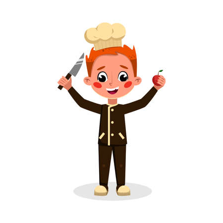 Boy Professional Chef Character Holding Knife and Apple, Cute Kid in Uniform and Hat Cooking Tasty Dish Cartoon Style Vector Illustration