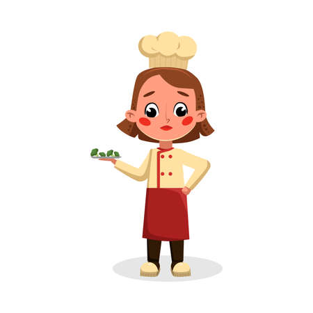Girl Professional Chef Character Holding Plate with Broccoli, Cute Kid in Uniform and Hat Cooking Tasty Dish Cartoon Style Vector Illustration