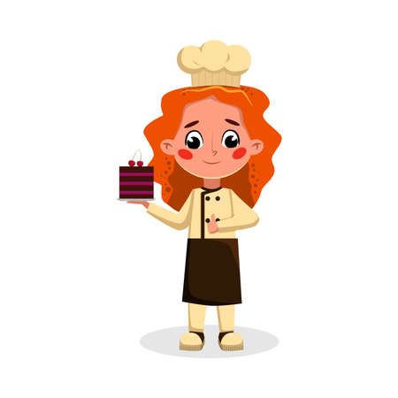 Girl Professional Confectioner Character Holding Tray with Cake Dessert, Side View of Cute Chef Kid in Uniform and Hat Cooking Tasty Dish Cartoon Style Vector Illustration
