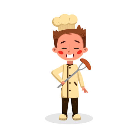 Boy Professional Chef Character Holding Sausage on Fork, Cute Kid in Uniform and Hat Cooking Tasty Dish Cartoon Style Vector Illustration