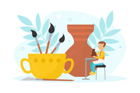 Tiny Boy Making Pot with Clay, Pottery and Ceramics, Creative Children Education Vector Illustration
