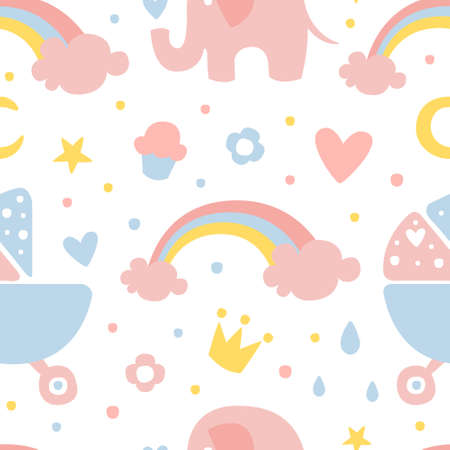 Cute Childish Seamless Pattern, Design Element Can be Used for Baby Apparel, Fabric, Textile, Nursery Decoration Cartoon Vector Illustration Vecteurs